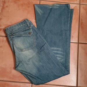 Earl Faded Denim Low Rise Boot Cut Flare Jeans 30